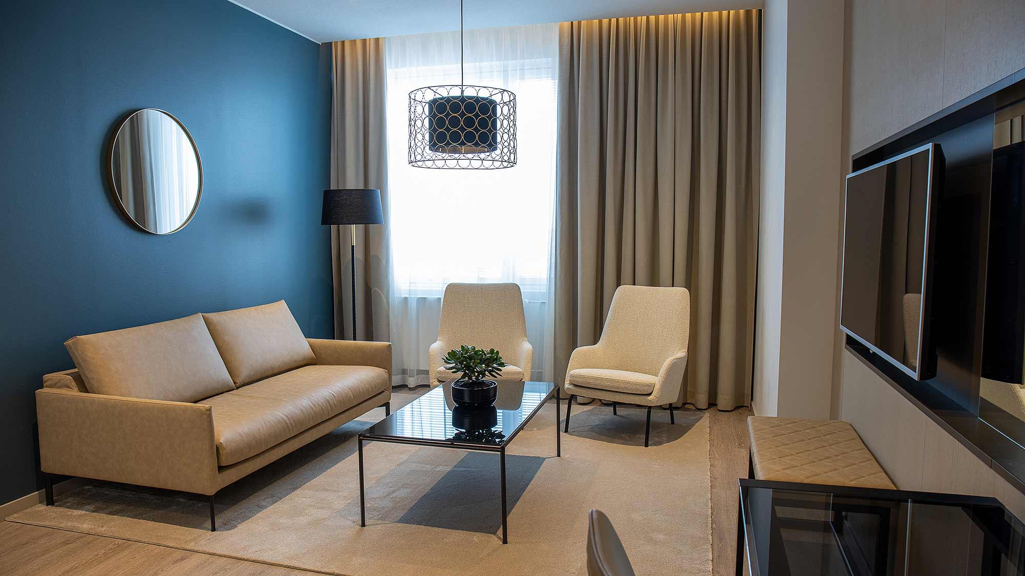 Hotelli Hotel Mattsin sviitti Espoon Matinkylässä.