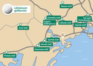 Golfkenttäkartta pk-seudulla, Hotel Mattsin läheisyydessä.