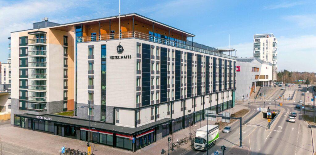 Uusi hotelli Hotel Matts Espoon Matinkylässä.