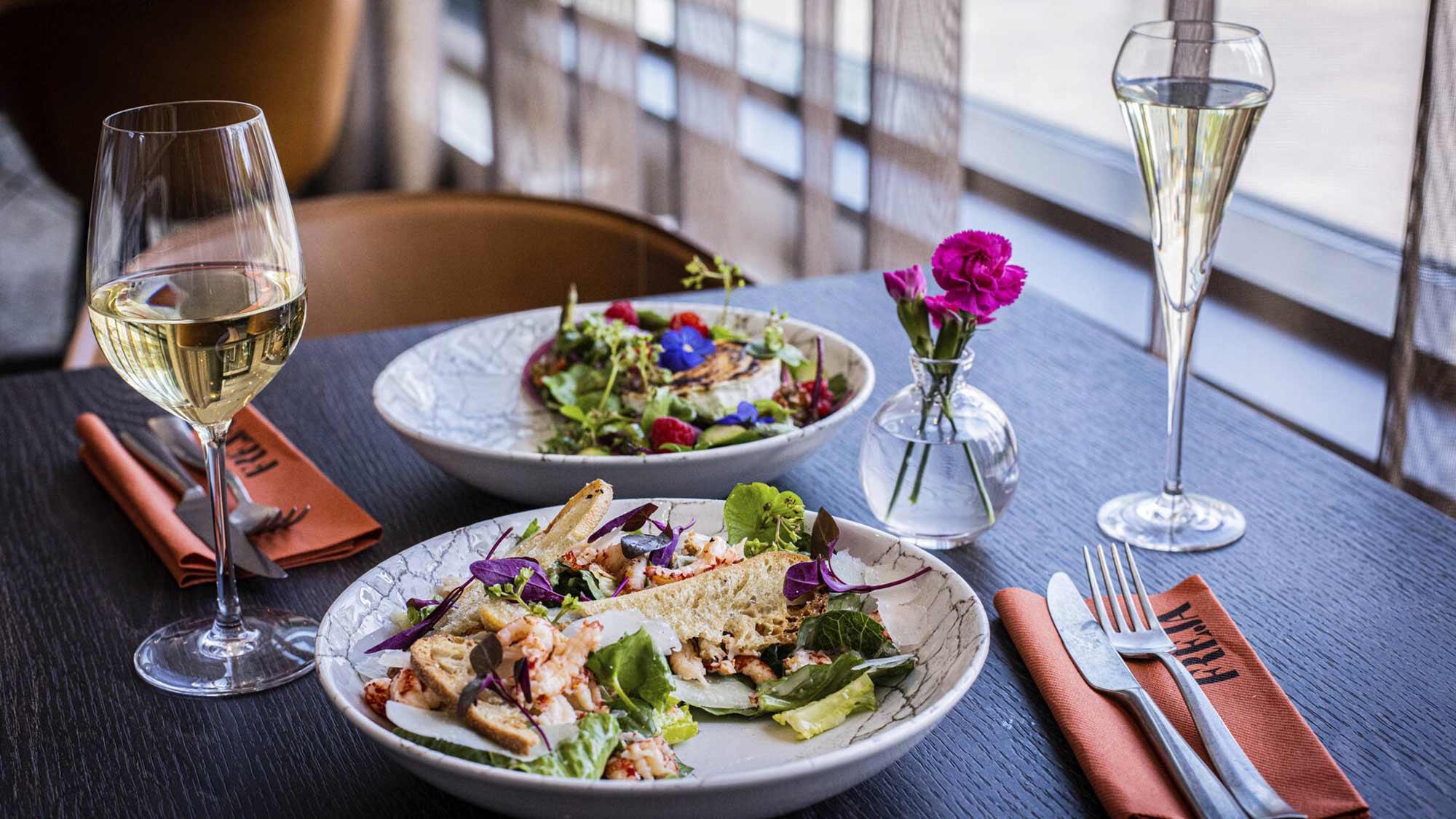 Ruoka-annokset Hotel Mattsin ravintolassa Frejassa Espoossa.